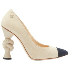 runway CHANEL beige canvas black pointed toe knotted rope high heel pump EU36C