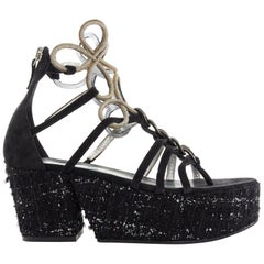 runway CHANEL black tweed platform gold metal strappy flatform sandals EU37 US7
