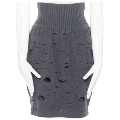 runway CHANEL KARL LAGERFELD AW14 grey wool knit high waist holes skirt FR38 M