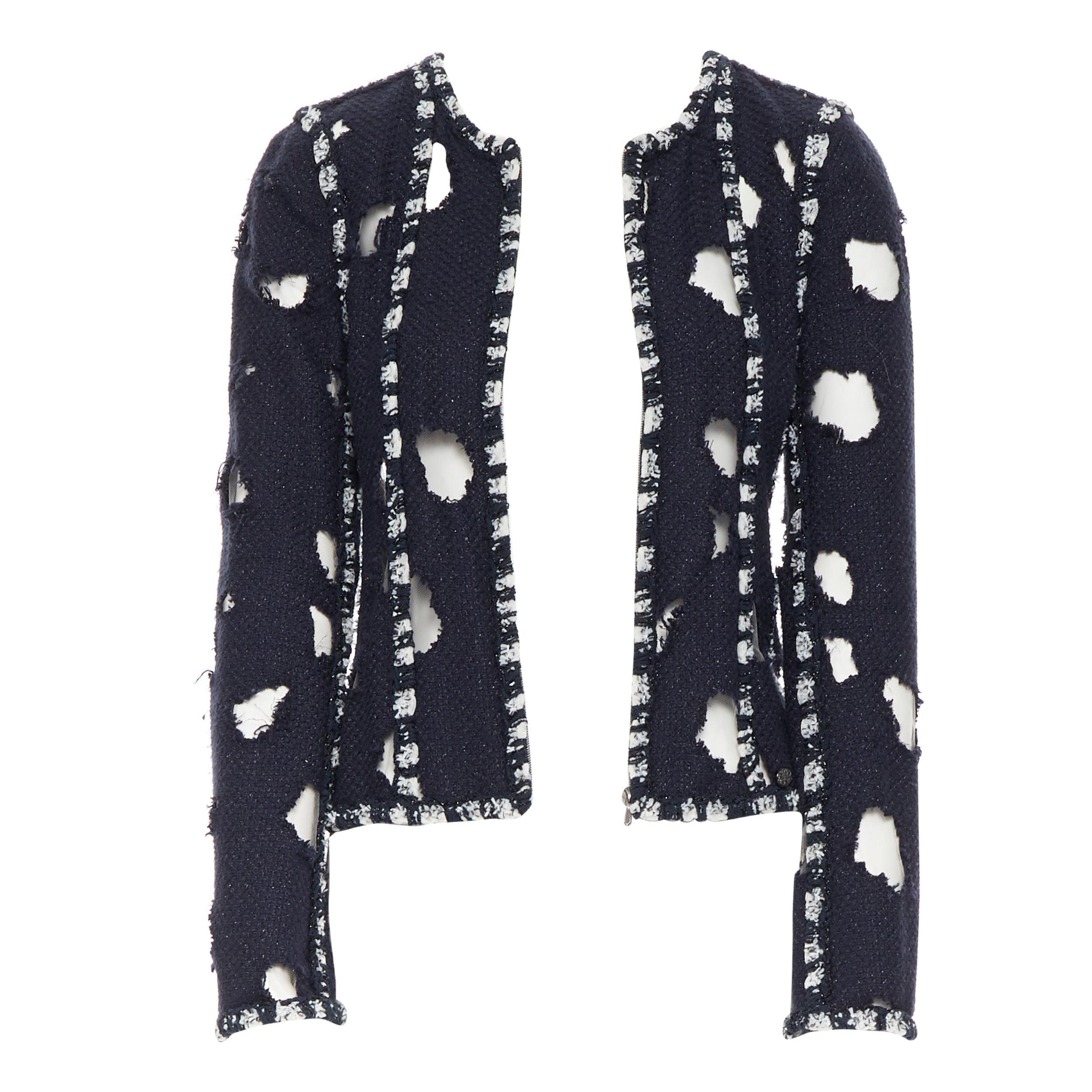runway CHANEL SS11 navy blue tweed distressed holey tweed punk crop jacket FR38