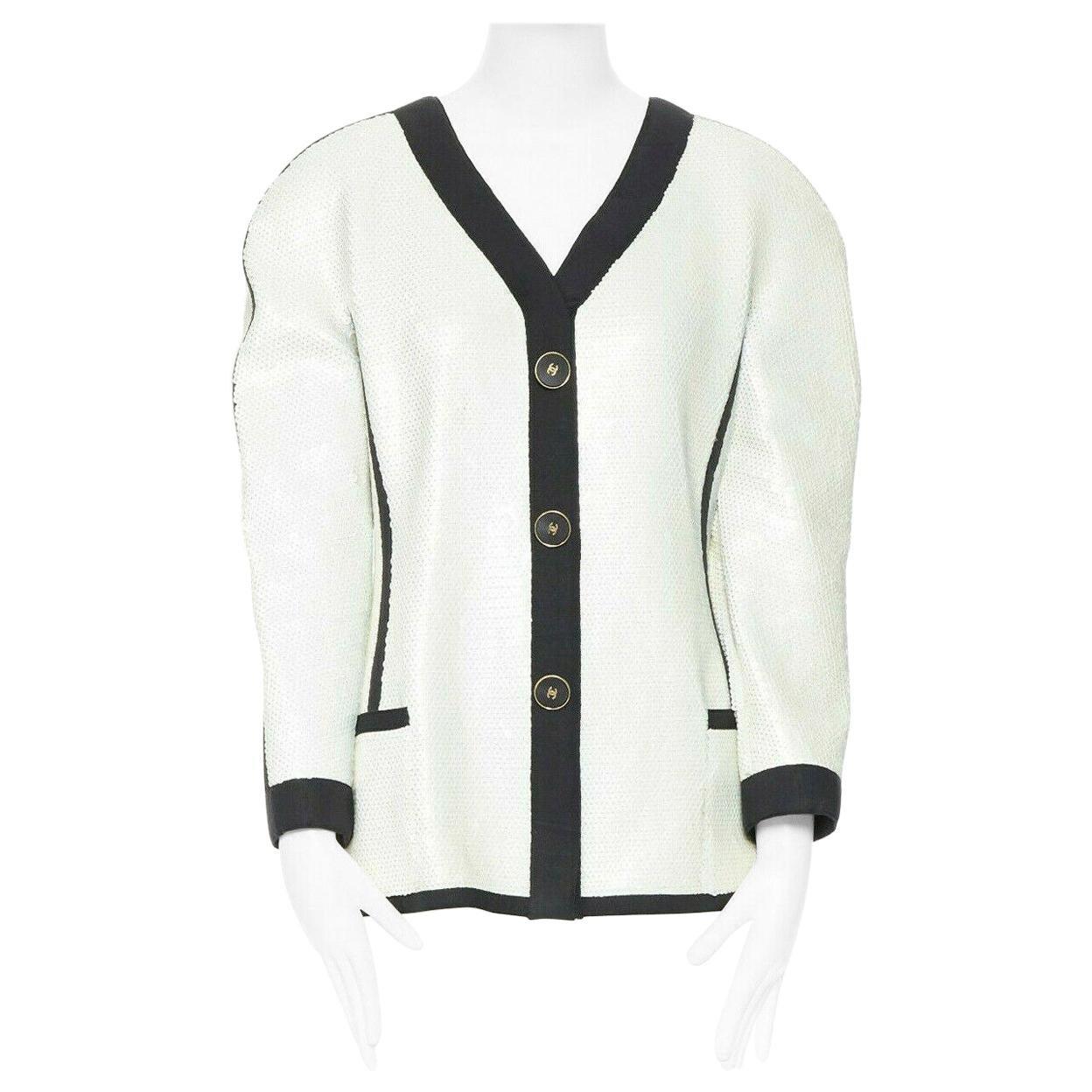 runway CHANEL SS91 white sequin black grosgrain trim scuba zipper jacket FR44