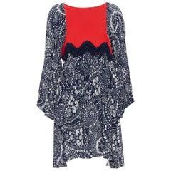 runway CHLOE 2016 blue white lace trimmed floral flared sleeve boho dress  FR36