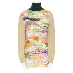 runway CHLOE AW12 wool-blend multicoloured braid knitted turtleneck sweater XS