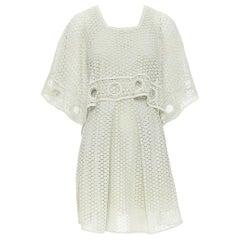 runway CHLOE mint green embroidery anglais eyelet handkerchief layared dress XS