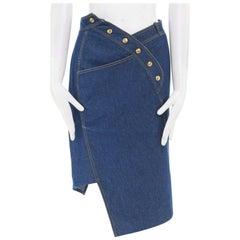 runway CHRISTIAN DIOR GALLIANO blue denim overstitch denim asymmetric skirt FR38