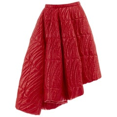 runway CHRISTIAN DIOR RAF SIMONS AW14 red quilted padded asymmetric skirt IT40 S