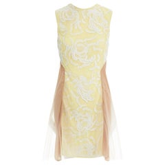 runway CHRISTOPHER KANE SS10 yellow sequins lace nude tulle insert dress UK6 XS