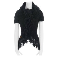 runway COMME DES GARCONS AW02 black mohair fringe trimmed circle cut cardigan