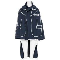runway COMME DES GARCONS AW09 REI KAWAKUBO navy blue trompe l'oeil coat jacket S