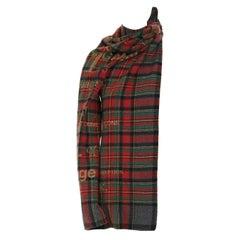 runway COMME DES GARCONS AW2003 punk plaid wrap asymmetric sleeve wrap tie top M