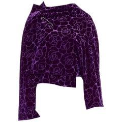runway COMME DES GARCONS AW96 purple floral velvet devore wrap front jacket M