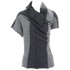 runway COMME DES GARCONS grey angora mix blend wrap draped neck colorblock top M