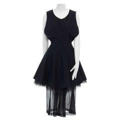 runway COMME DES GARCONS Vintage SS95 black tulle layered full skirt dress S