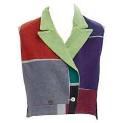 runway COMME DES GARCONS Vintage SS96 colorblocked felt tail vest jacket FR36 S