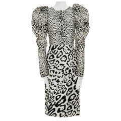 runway DOLCE GABBANA AW09 black white leopard felt puff sleeve dress IT36 XS