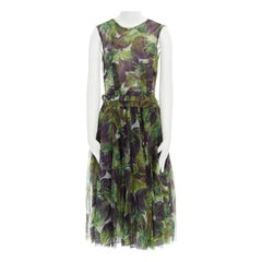 runway DOLCE GABBANA SS12 eggplant print silk organza dress IT40 US2 UK8 FR36 S