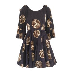 runway DOLCE GABBANA SS14 flower embellish coin print jacquard dress IT36 XS