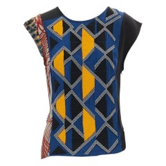 runway DRIES VAN NOTEN AW11 ethnic tribal beaded printed silk top FR38 S US4