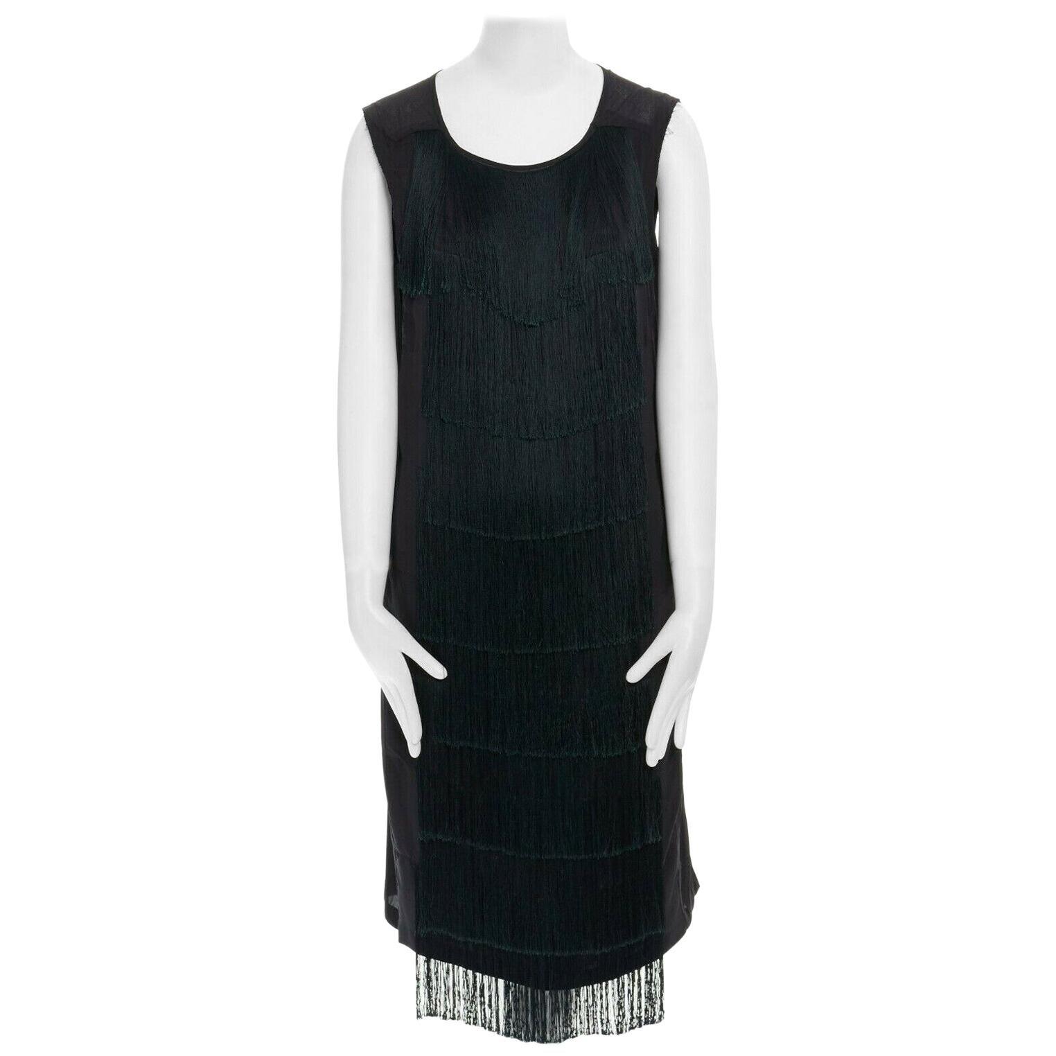 runway DRIES VAN NOTEN AW13 black fringe trim silk flapper dress FR38 US6 UK10