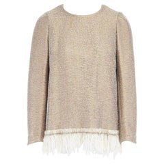 runway DRIES VAN NOTEN AW15 gold coated cream wool fringe hem sweater top FR40 M