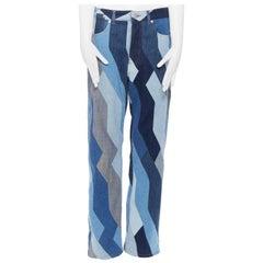 "runway DRIES VAN NOTEN AW17 blue patchwork straight-leg denim jeans pants 29"""