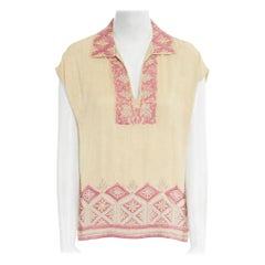 runway DRIES VAN NOTEN beige pink ethnic beaded embroidery sleeveless top FR38 M