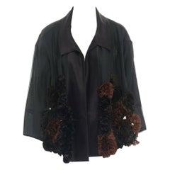 runway DRIES VAN NOTEN SS13 black ruffle floral pailette embellished jacket S