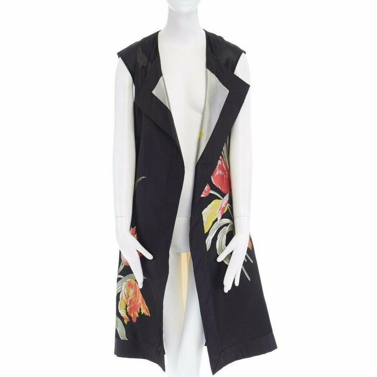 Women's runway DRIES VAN NOTEN SS14 black floral jacquard silk cotton back belted vest S For Sale