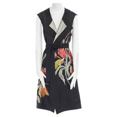 runway DRIES VAN NOTEN SS14 black floral jacquard silk cotton back belted vest S
