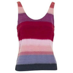 runway DRIES VAN NOTEN SS15 eyelash fringe red purple stripe tank top FR34 S