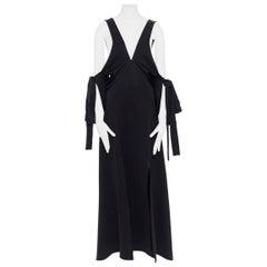 runway ELLERY black plunge neck cold shoulder tie sleeve ruffle midi dress US6 M