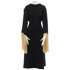 runway ELLERY Ritz black jersey gold fringe kimono sleeve belt midi dress AU8 S