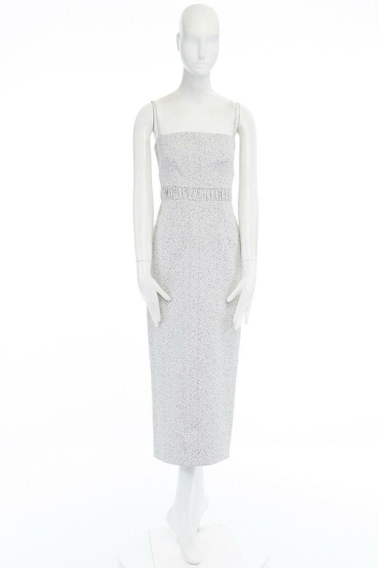Gray runway EMILIA WICKSTEAD Claire grey pebbled fitted cocktail midi dress US4 S For Sale