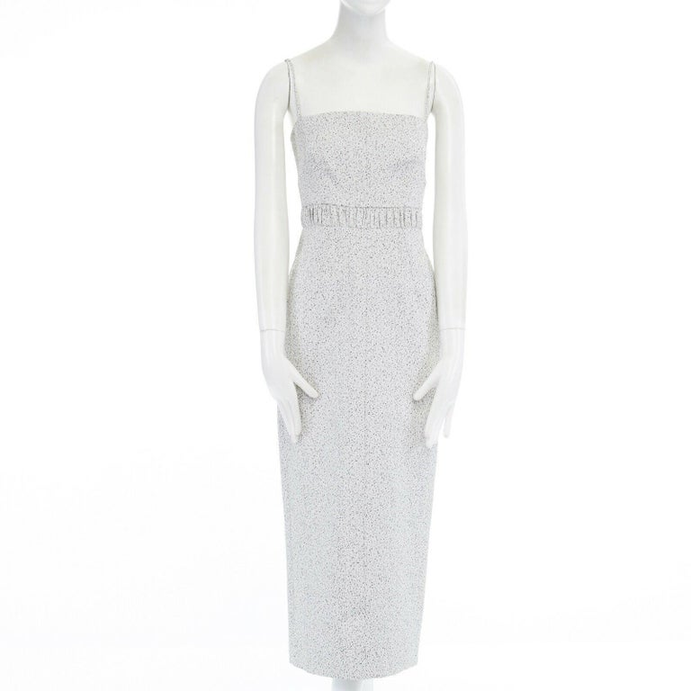 runway EMILIA WICKSTEAD Claire grey pebbled fitted cocktail midi dress US4 S In Excellent Condition For Sale In Hong Kong, NT
