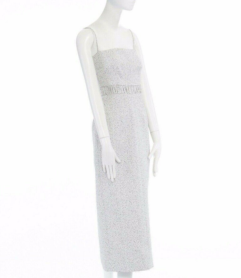 Women's runway EMILIA WICKSTEAD Claire grey pebbled fitted cocktail midi dress US4 S For Sale