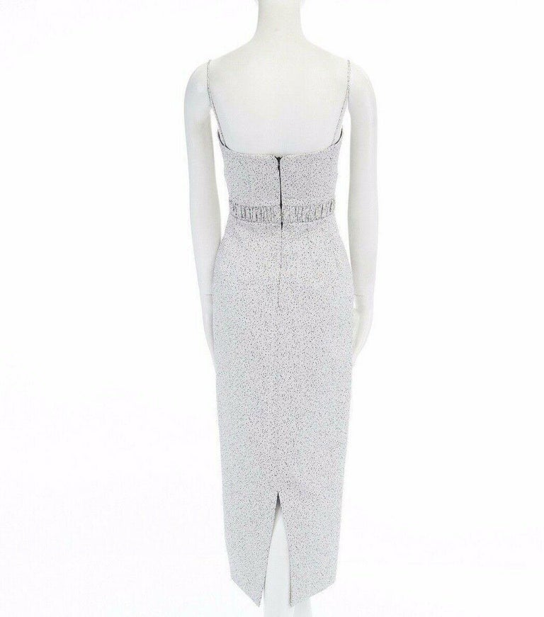 runway EMILIA WICKSTEAD Claire grey pebbled fitted cocktail midi dress US4 S For Sale 2