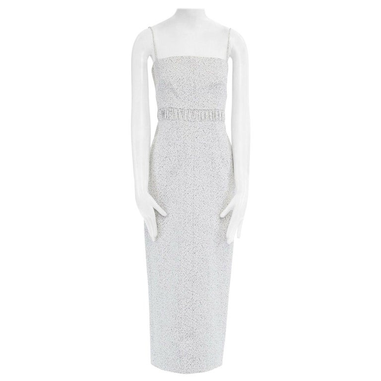 runway EMILIA WICKSTEAD Claire grey pebbled fitted cocktail midi dress US4 S For Sale