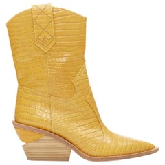 runway FENDI Cutwalk yellow stamped croc calf leather western cowboy boots EU37