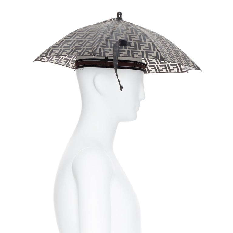 runway FENDI grey FF logo mongram print rubber forever umbrella hat rare In New Condition For Sale In Hong Kong, NT