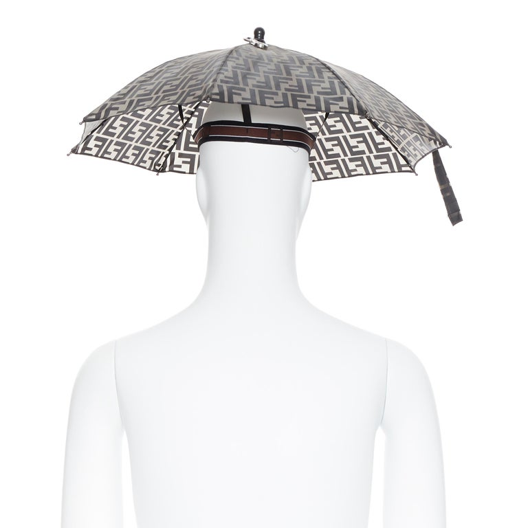Men's runway FENDI grey FF logo mongram print rubber forever umbrella hat rare For Sale
