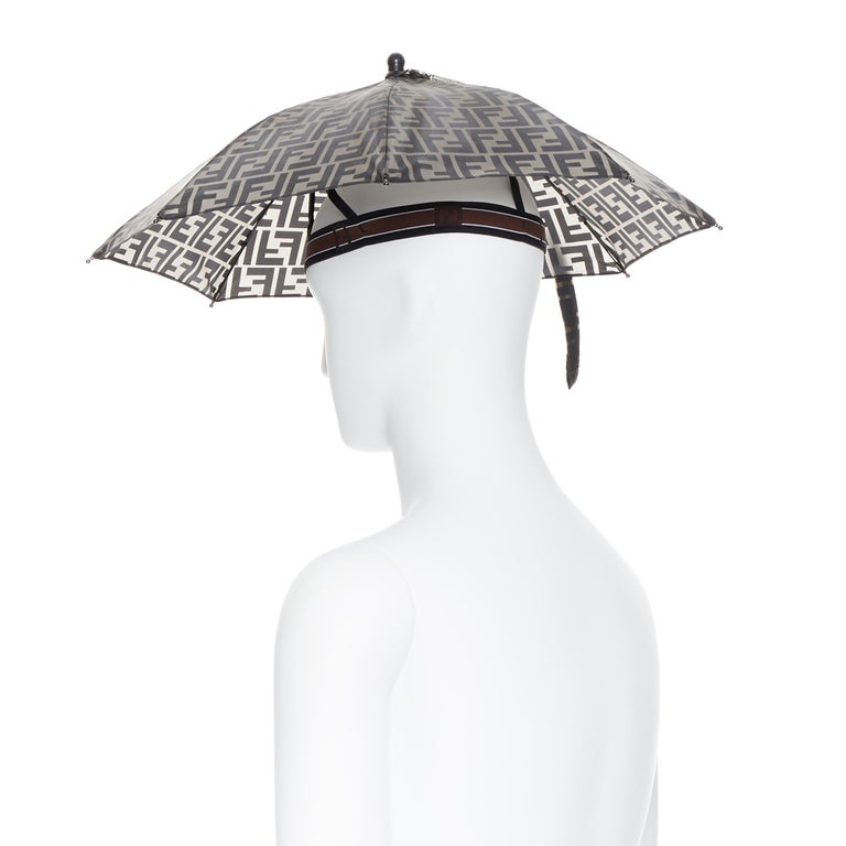 runway FENDI grey FF logo mongram print rubber forever umbrella hat rare For Sale 1