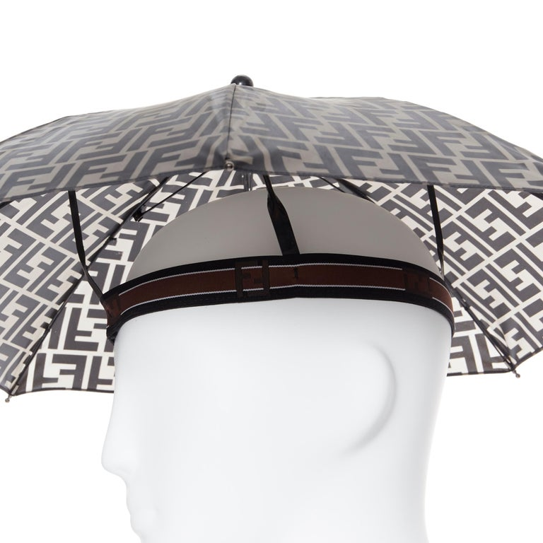 runway FENDI grey FF logo mongram print rubber forever umbrella hat rare For Sale 2