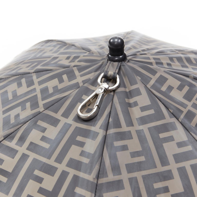 runway FENDI grey FF logo mongram print rubber forever umbrella hat rare For Sale 5