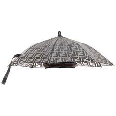 runway FENDI grey FF logo mongram print rubber forever umbrella hat rare