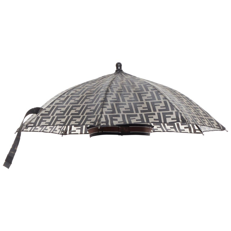 runway FENDI grey FF logo mongram print rubber forever umbrella hat rare For Sale
