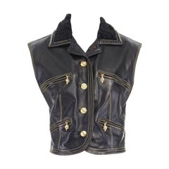 runway GIANNI VERSACE AW92 Miss SM black fur collar leather Medusa vest jacket S
