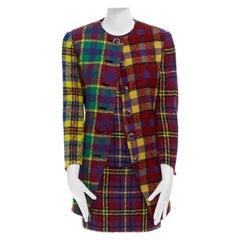 runway GIANNI VERSACE Vintage AW91 multicolor plaid check jacket skirt set S US4