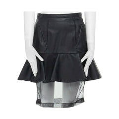 "runway GIVENCHY AW11 black peplum layered skirt sheer underlay 26"" FR36 US4"