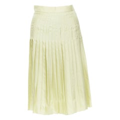 """runway GIVENCHY TISCI 100% silk pastel green pleated knee length skirt IT38 25"""""""