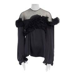 runway GIVENCHY TISCI AW08 black pleated ruffle lace sheer yoke silk top FR36